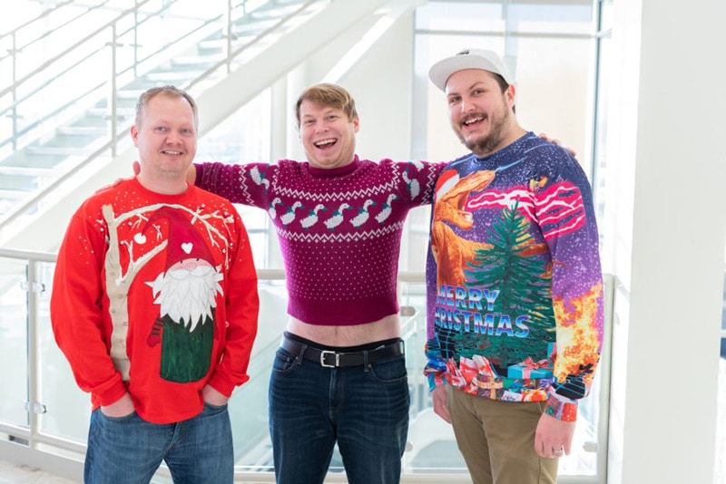 Travis, Alex, and Jesse ugly sweaters