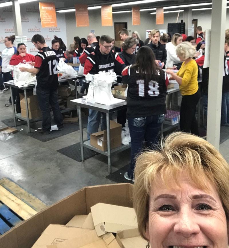 Dawn's selfie with CFS team members at Feeding South Dakota
